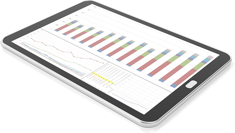 Tablet with charts for Frog's Strategic Insight service